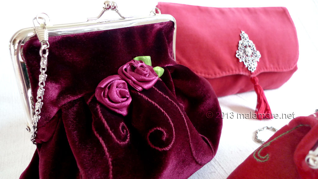 Formal velvet and satin handbags rose