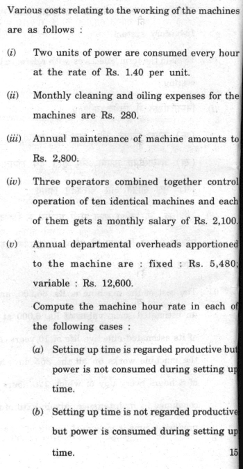 DU SOL B.Com. (Hons.) Programme Question Paper - Cost Accounting - Paper IX