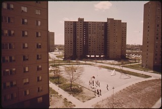 Stateway Gardens Highrise Housing Project On Chicago's South Side. The Complex Has Eight Buildings With 1,633 Two And Three Bedroom Apartments Housing 6,825 Persons, 05/1973