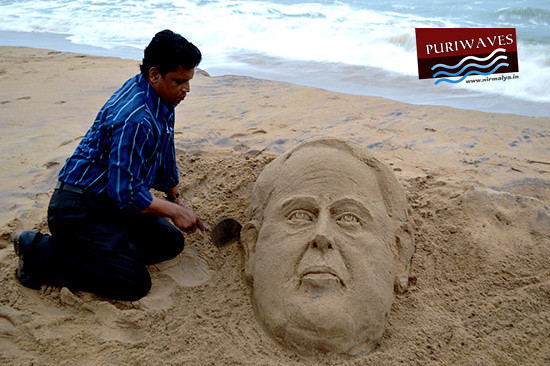 Sand sculpture of President of India Shri Pranab Mukherjee by Ranjan Kumar Ganguly