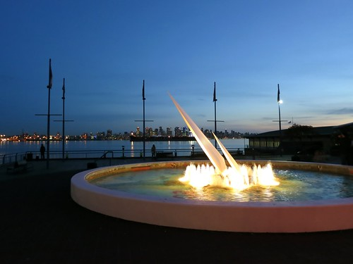 Illuminated fountain at Lonsdale Quay