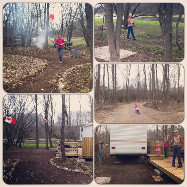 Getting our site all raked, burning sticks, and got the trailer backed into it's spot. Bring on summer! #camping #cmig365apr