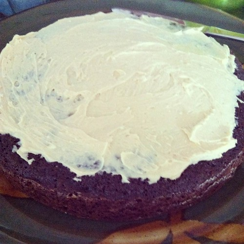 Chocolate Stout Cake with Peanut Butter Cream Cheese Frosting