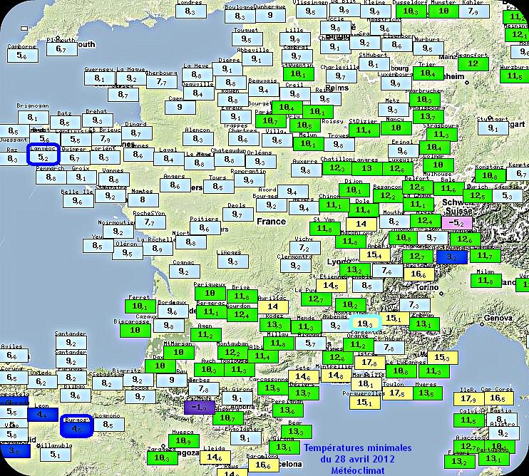 températures minimales et records de douceur du 28 avril 2012 météopassion
