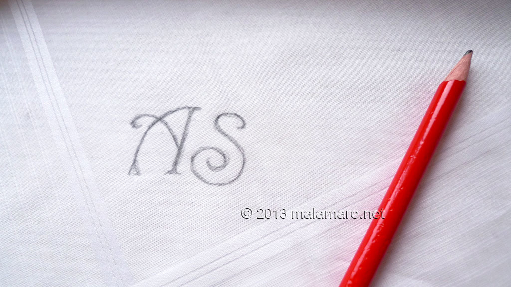 Hand embroidered handkerchief letters