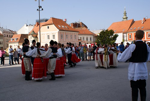 Folk dancers outside Zagreb Cathedral