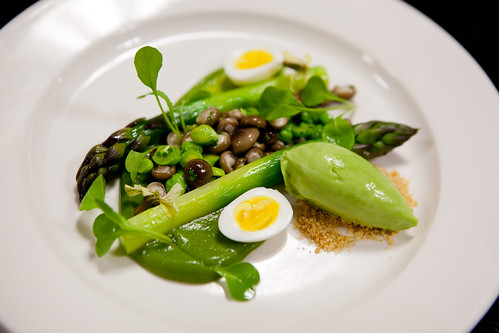 "Chef Shaun Hergatt plating the ""Green Asparagus"""