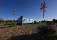Blue trailer (and blue sky) at El Cosmico camp site