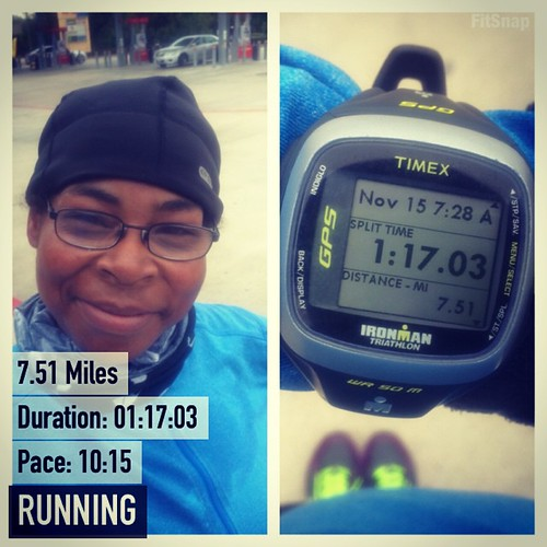 #running 7 miles today 13 tomorrow. Tried to keep it at marathon pace for this run! #teamchocolatemilk #fitfluential #ffcheckin #sweatpink