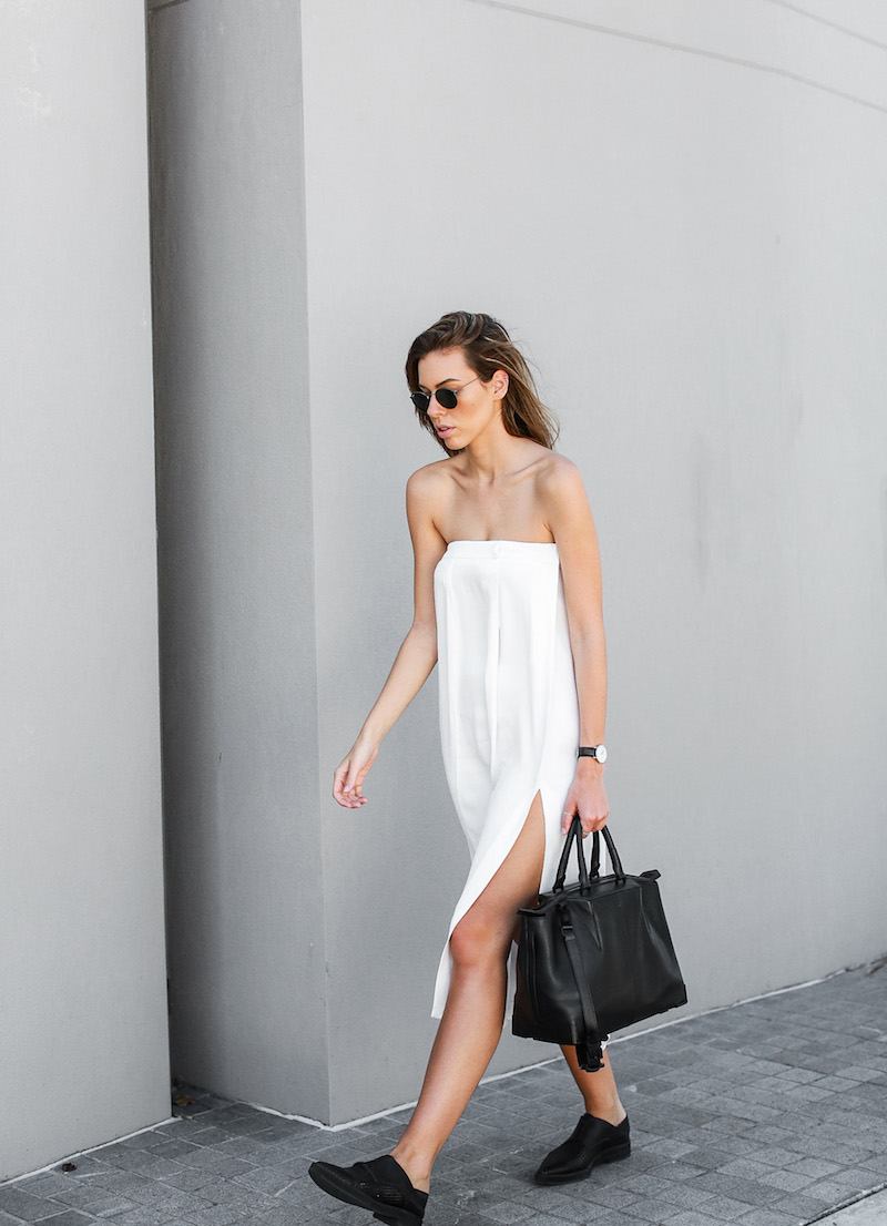 modern legacy fashion blog white strapless dress street style brogues oxfords Helmut Lang Alexander Wang Saba diy black white (5 of 6)