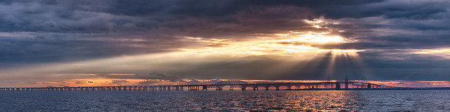 Chesapeake Bay Bridge Sunset Panorama