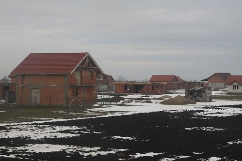 Incomplete Romanian houses near the border with Hungary