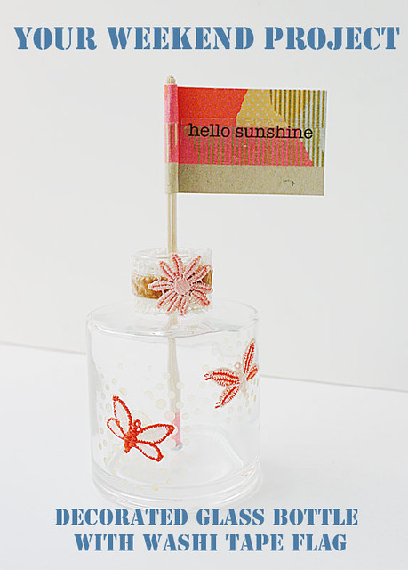 Your-weekend-project---decorated-glass-bottle-with-washi-tape-flag