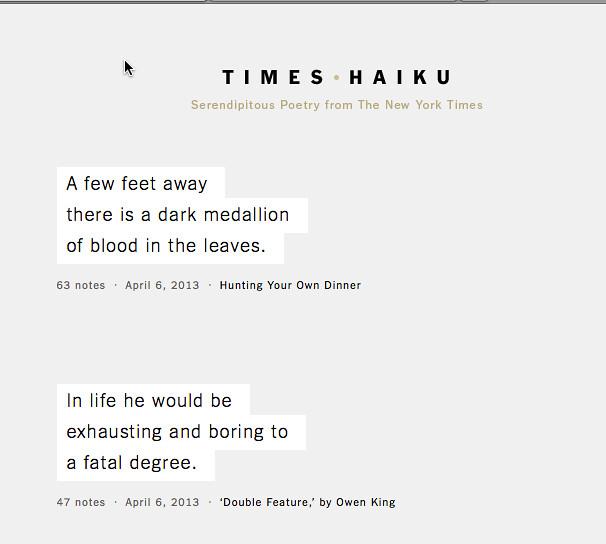 ny times haiku
