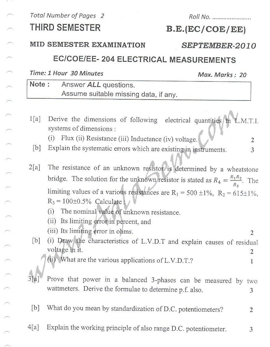 DTU Question Papers 2010 – 3 Semester - Mid Sem - EC-COE-EE-204