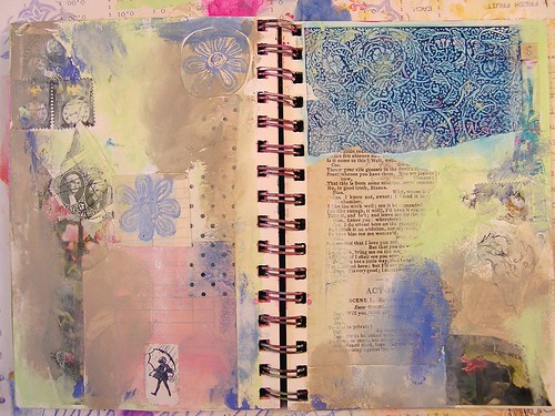 Art Journal Page Started with Collaged Paper, Part 2