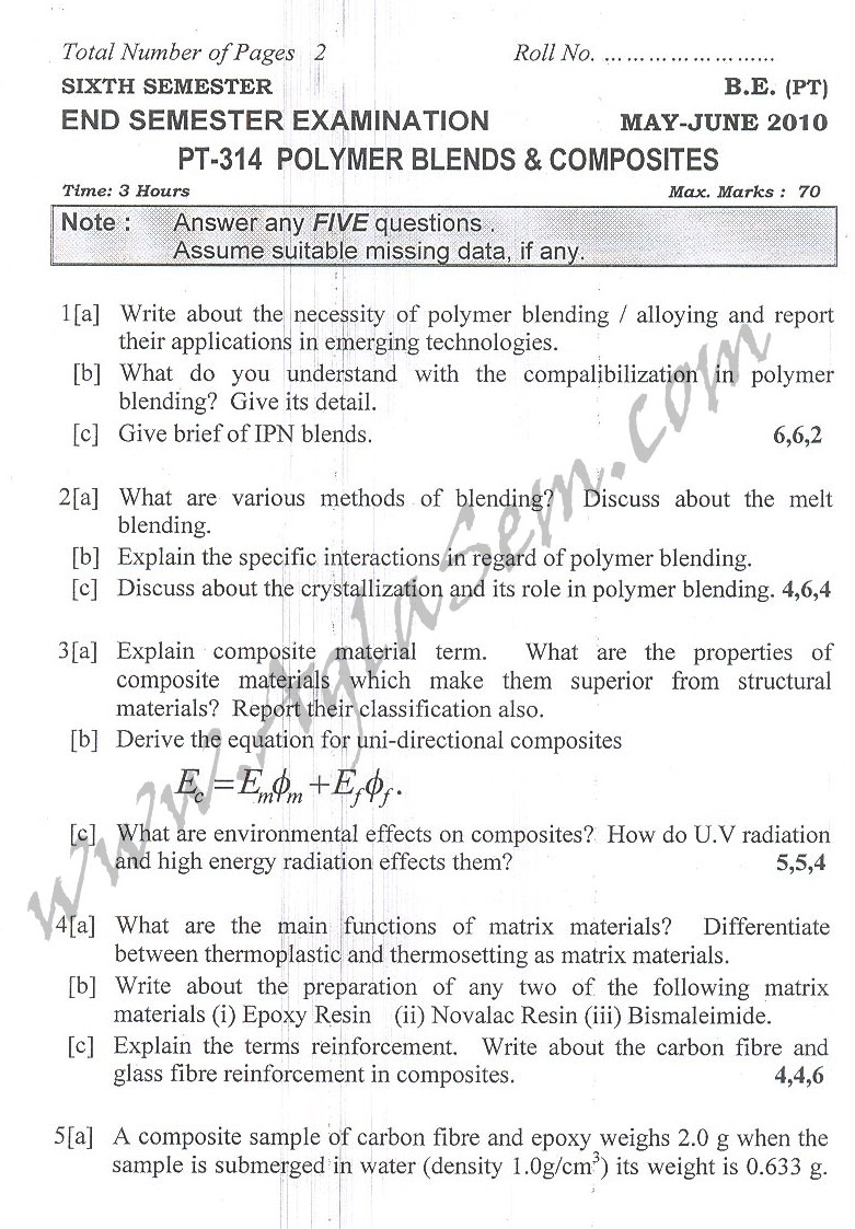 DTU Question Papers 2010 – 6 Semester - End Sem - PT-314