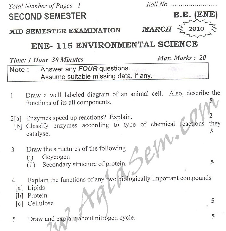 DTU Question Papers 2010 – 2 Semester - Mid Sem - ENE-115