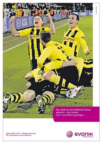 Werbung von Evonik zu Borussia Dortmund: Der BVB hat die Halbfinal-Tickets gebucht - last minute war's vermutlich günstiger...