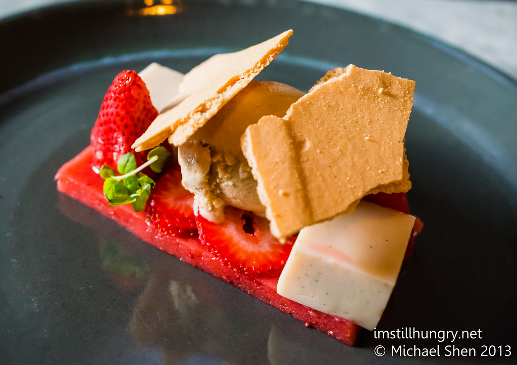 Ume strawberries & cream - strawberry jelly, vanilla tofu, ginger meringue, micro mint, vanilla ice cream