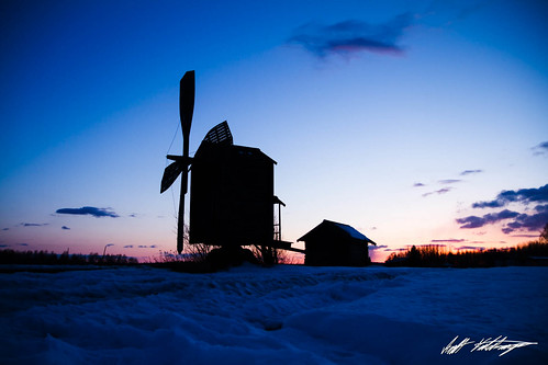 old blue trees winter sunset sky snow history windmill field yellow clouds finland landscape dusk traditional farming bluehour hankasalmi centralfinland middlefinland
