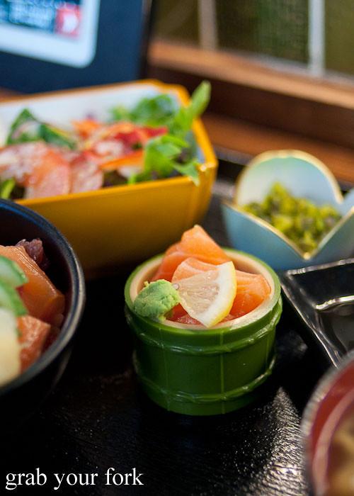 sashimi salmon at yebisu izakaya, regent place sydney
