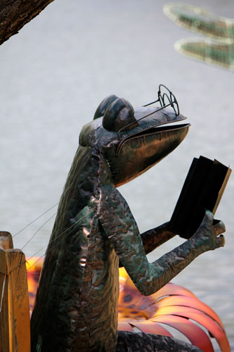 a frog reading a book, meadowlark botanical gardens