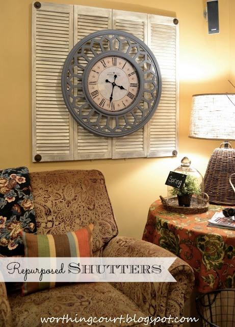 Repurposed bifold doors in basement family room via Worthing Court blog w text