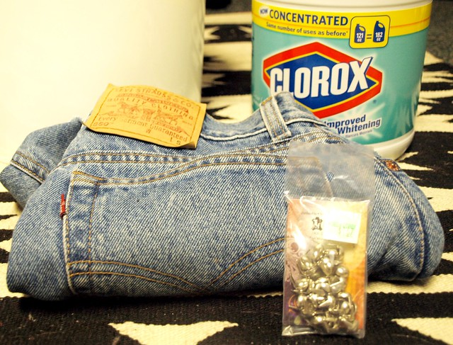 DIY bleached and studded jean shorts