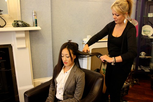 In make-up: Veronica Bentley does Actress Gabby Wong's hair.