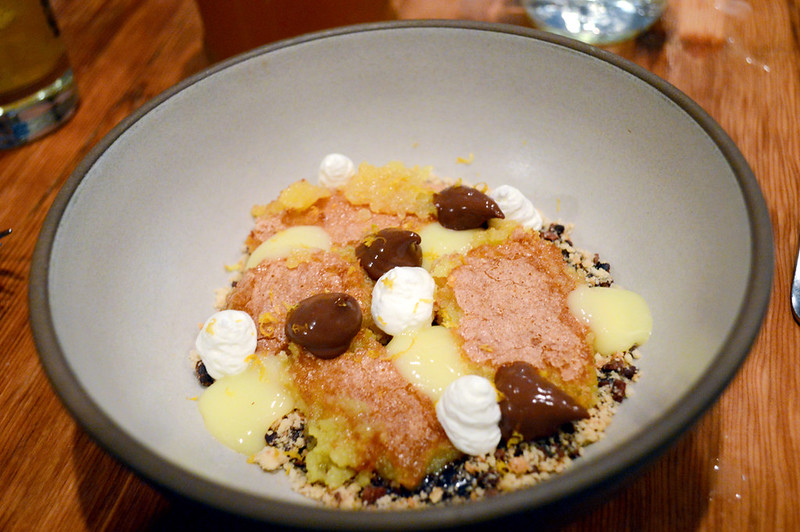 lemon curd, chocolate pudding, ground pistachios and graham crumble