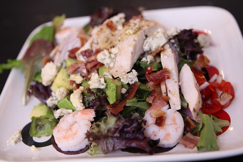 Salad with Shrimp, Chicken, Bacon, Peppadew, Avocado, Red Onion, and Fourme D'Ambert