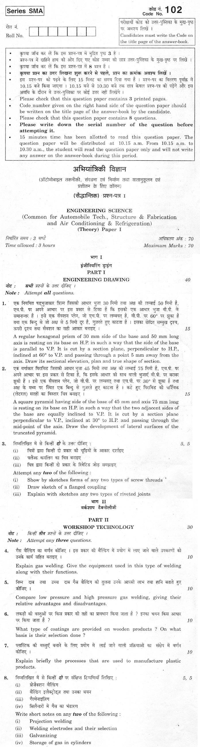 CBSE Class XII Previous Year Question Paper 2012 Engineering Science Paper I