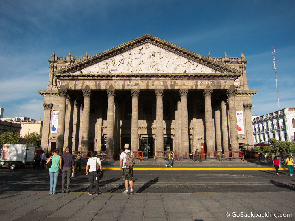 The Teatro Degollado (Opera House) faces the Plaza de la Liberación east of the Cathedral