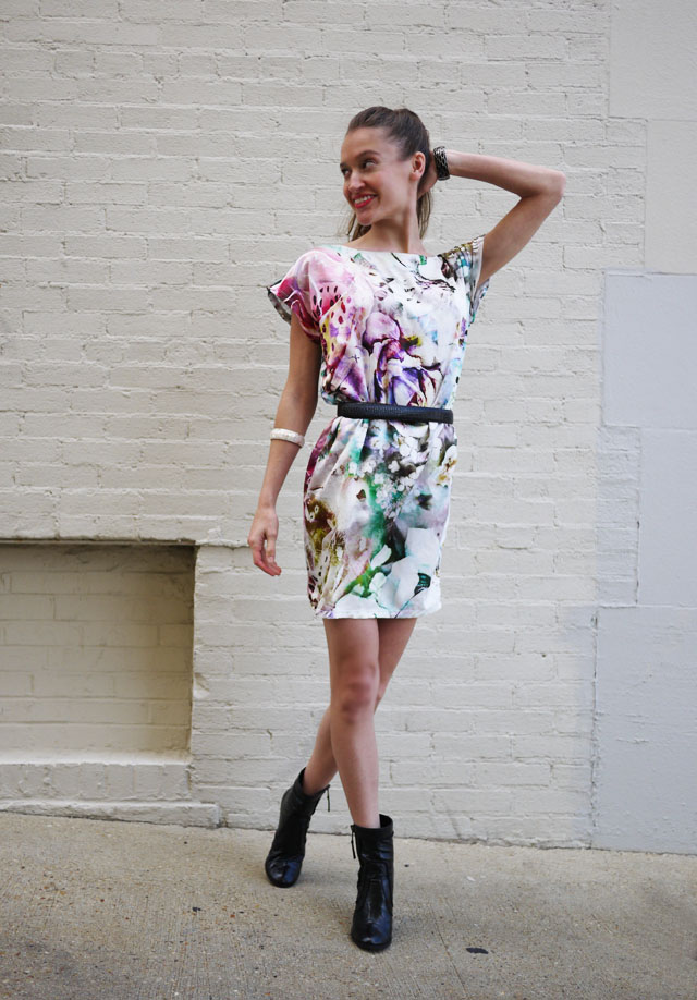 floral graphic print dress, spring 2013 trends, my fair vanity, fashion blog, ecofriendly, rachel mlinarchik