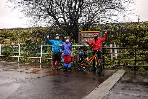 Cycling group photo on the Kitahiroshima Elfin Road (Kitahiroshima, Hokkaido, Japan)