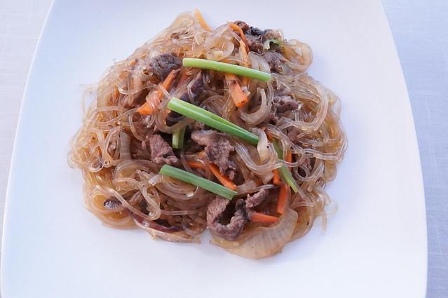 Bulgogi Japchae (Korean stir fried beef noodles with vegetables)