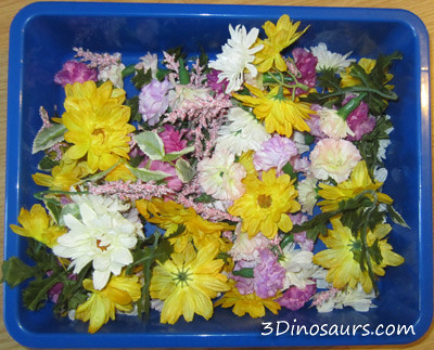 Flower Sensory Bin (Photo from 3 Dinosaurs)