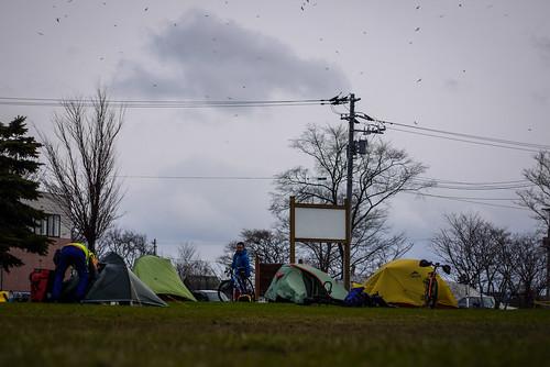 Cycle camping at the Shinotsu Park Camping ground (Shinshinotsu Town, Japan)