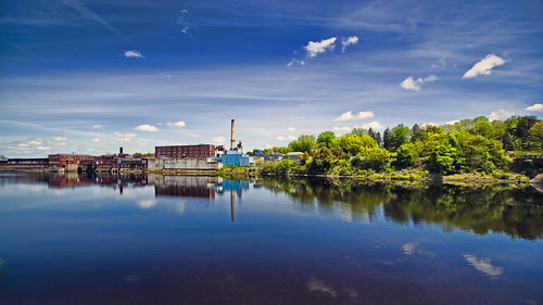 blue trees mill water clouds reflections day factory pentax maine kennebec winslow kennebecriver k30 kennebeccounty sigma1020mmf35 watervile pentaxk30 pwpartlycloudy
