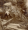 A Haircut in the Garden - Detail of Stereo Card with Bicycles