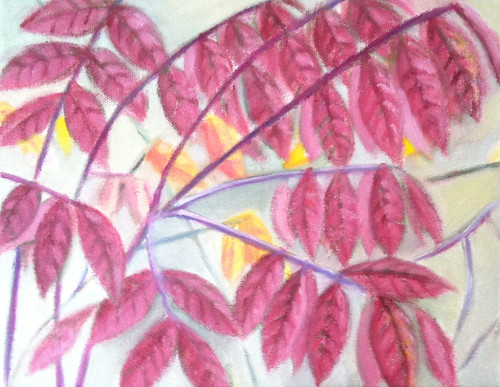 Red Leaves (Oil Bar Painting as of October 9, 2013) by randubnick