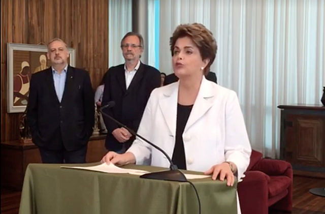 Dilma Rousseff durante el pronunciamento en la tarde del martes (16) - Créditos: Foto: Reproducción