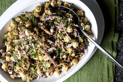lentil chickpea salad with so much stuff