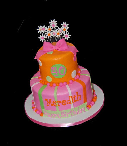 40th birthday pink orange and green cake
