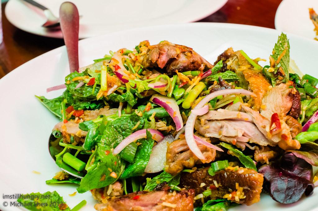 Atom Thai - Roast duck salad (yum ped) - boneless roast duck, Spanish onion, coriander, mint, lemon juice, roasted coconut meat, tomato