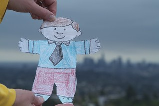 Flat Stanley DTLA in back