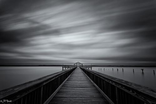 wood longexposure sky bw storm water weather clouds sunrise virginia pier fishing tide maryland victory pylon lee potomacriver 1740l sep2 leesylvaniastatepark 5dii bigstopper jpbenante