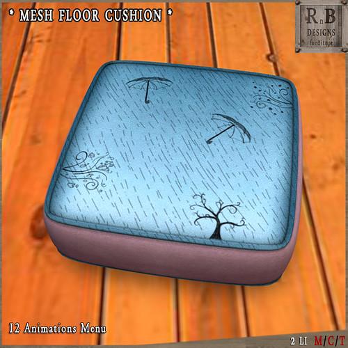 HUNT GIFT ! *RnB* Mesh Floor Cushion - 12 Anims - Rainy Days (np)
