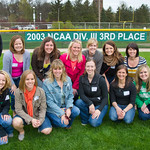 13-0075 -- A banner for the 2003 NCAA Final Four softball team was unveiled on the centerfield fence between games of the doubleheader vs. Wheaton.